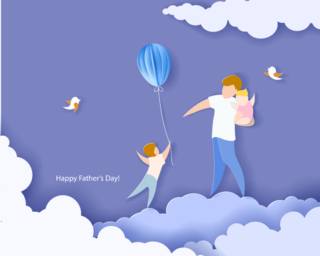 Handsome man with his children and colour balloons. Happy fathers day card. Paper cut style. Vector illustration