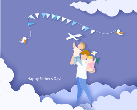 Handsome man with his children. Happy fathers day card. Paper cut style. Vector illustration
