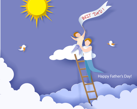 Handsome man with his son on cloud. Happy fathers day card. Paper cut style. Vector illustration