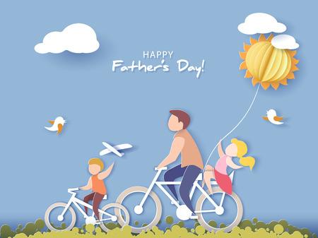 Hübscher Mann und seine Kinder, die mit Luftballon radeln. Glückliche Vatertagskarte. Papierschnittstil. Vektorillustration