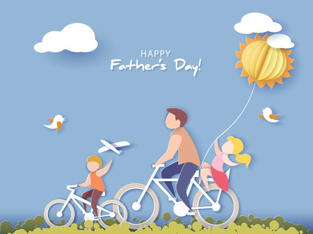 Handsome man and his children bicycling with air balloon. Happy fathers day card. Paper cut style. Vector illustration Фото со стока - 102250925