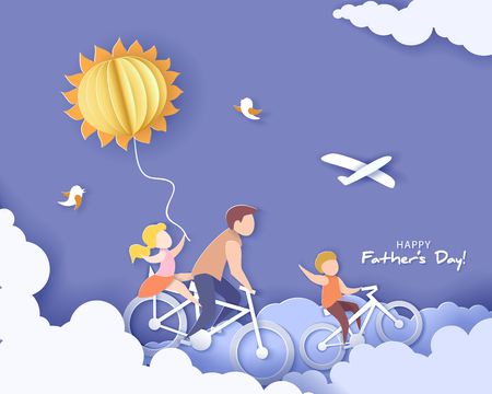 Bel homme et ses enfants à vélo avec ballon à air. Carte de fête des pères heureux. Style de papier découpé. Illustration vectorielle Vecteurs