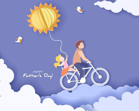 Hombre guapo y su hija en bicicleta con globo de aire en forma de sol. Tarjeta del día de padres feliz. Estilo de corte de papel. Ilustración vectorial