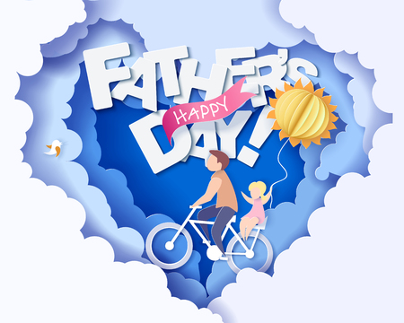 Handsome man and his daughter bicycling with air balloon sun shaped. Happy fathers day card. Paper cut style. Vector illustration Çizim