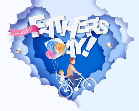 Hübscher Mann und sein Sohn, die mit Luftballons Fahrrad fahren. Glückliche Vatertagskarte. Papierschnittstil. Vektorillustration