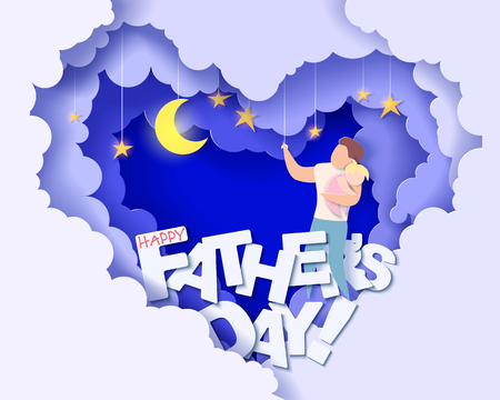 Handsome man and his daughter dreaming at the night. Happy fathers day card. Paper cut style. Vector illustration