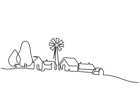 Continuous line drawing. Landscape with village on hill. Vector illustration. Concept for logo, card, banner, poster, flyer Stok Fotoğraf - 104038437