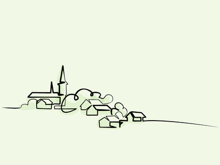 Kontinuierliche Strichzeichnung. Landschaft mit Dorf auf Hügel. Vektorfarbillustration. Konzept für Logo, Karte, Banner, Poster, Flyer