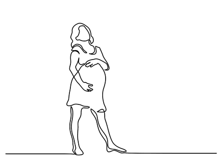 Continuous line drawing. Happy pregnant woman, silhouette picture. Vector illustration