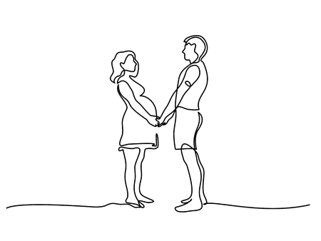 Continuous line drawing. Happy pregnant woman walking with her husband, silhouette picture. Vector illustration  イラスト・ベクター素材