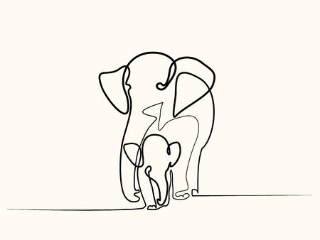 Continu een lijntekening. Olifant met babysymbool. Vector Illustratie