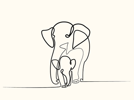 Continuous one line drawing. Elephant with baby symbol.