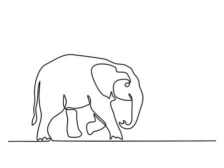 Continuous line drawing. Baby Elephant walking symbol. Stock Illustratie