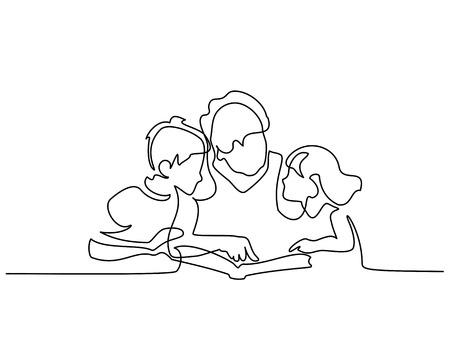 Dibujo continuo de una línea. Libro de lectura de la abuela con sus nietos. Ilustración vectorial