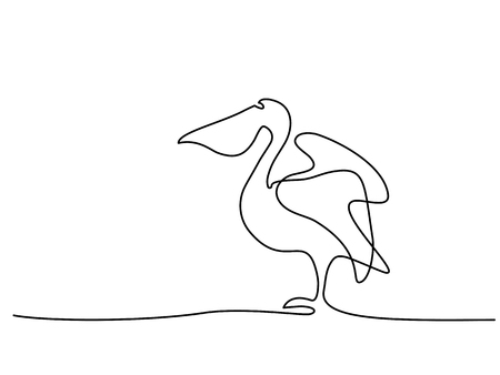 Continuous one line drawing. Pelican minimalist symbol. Logo of the pelican. Vector illustration
