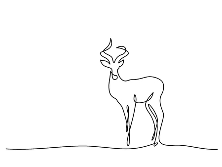 Continuous one line drawing. Impala walking symbol. Logo of the Impala. Vector illustration