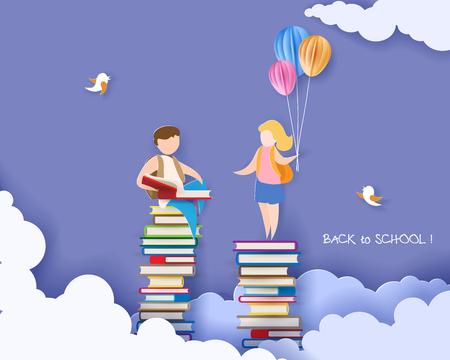 Tarjeta de regreso a la escuela el 1 de septiembre con un niño y una niña leyendo un libro en una pila de libros. Ilustración vectorial. Corte de papel y estilo artesanal.