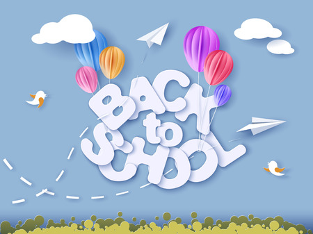 Back to school 1 September banner with air balloons.