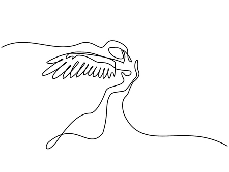 Continuous one line drawing. Portrait of angel woman with wings.
