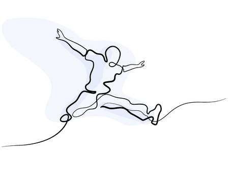 Continuous one line drawing. Happy jumping man on white background. Vector illustration.