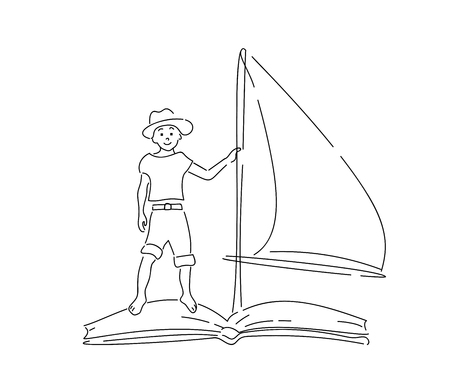 Boy floating on book with sail. Hand drawn style doodle design. Vector illustration