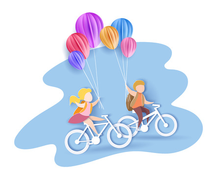 Back to school 1 september card. Children bicycling with air balloons. Paper cut style. Vector illustration Çizim