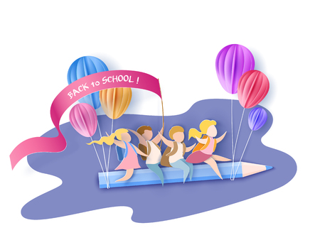 Back to school 1 september card Children flying on pencil with air balloons.