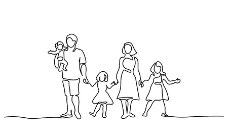 Continuous one line drawing. Happy family father and mother with three children. Vector illustration. Çizim