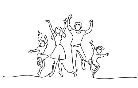 Dibujo continuo de una línea. Feliz madre de familia y padre bailando con niños. Ilustración de vector. Concepto de logotipo, tarjeta, pancarta, póster, folleto.