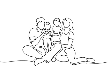 Continuous one line drawing. Family concept. Father, mother and two kids sitting together. Vector illustration