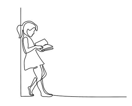 Disegno continuo a una linea. Libro di lettura della ragazza. Torna al concetto di scuola. Illustrazione vettoriale