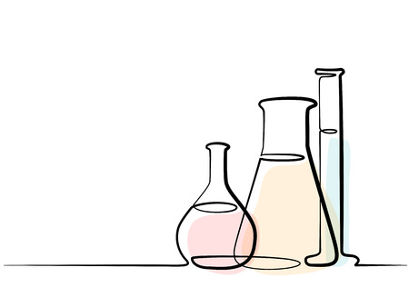 Continuous one line drawing. Chemical lab retorts. Vector illustration
