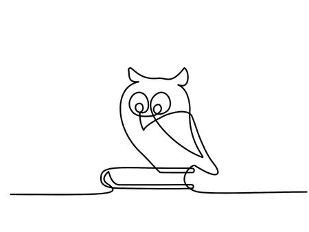 Dibujo continuo de una línea. Búho sabio de la escuela sentado en el libro. Ilustración vectorial Ilustración de vector