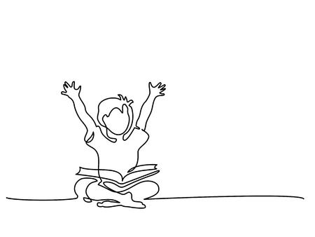 Dibujo continuo de una línea. Niño feliz leyendo libros abiertos sentados en el suelo. Ilustración vectorial