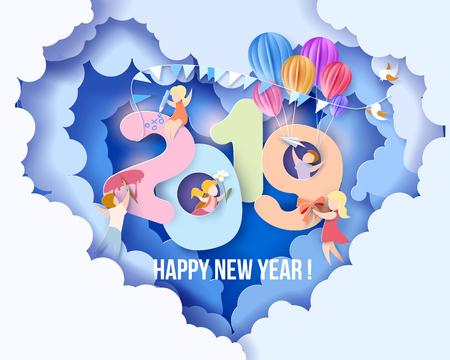 Tarjeta de diseño de año nuevo 2019 con niños, fondo de cielo azul. Ilustración de vector. Corte de papel y estilo artesanal.