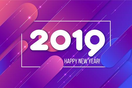 Tarjeta de año nuevo 2019. Composición de formas de degradado púrpura. Resumen de antecedentes. Ilustración vectorial