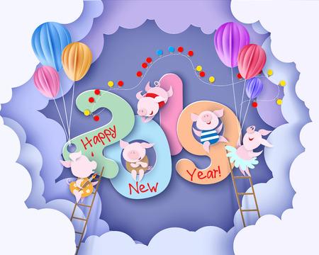 Tarjeta de diseño de año nuevo 2019 con cerdos sobre fondo morado con nubes. Ilustración de vector. Corte de papel y estilo artesanal.