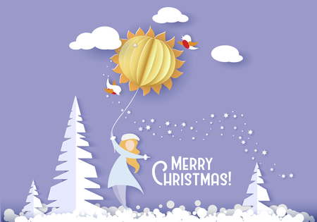 Color paper cut design and craft winter landscape with tree, woman, clouds. Holiday nature and christmas design. Vector illustration. Merry Christmas card.