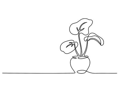 Dibujo continuo de una línea. Planta de la casa en maceta. Ilustración vectorial Ilustración de vector