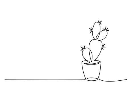 Continuous one line drawing. House cactus in pot. Vector illustration Reklamní fotografie - 109735437