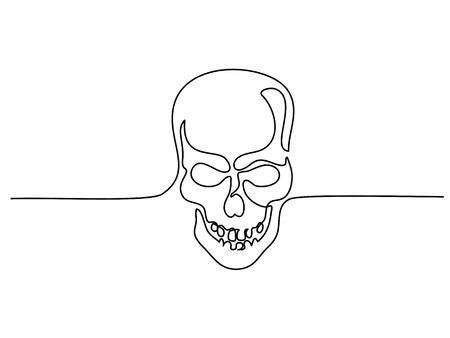 Continuous one line drawing. Abstract human skull. Vector illustration