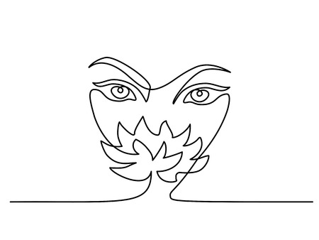 Continuous one line drawing. Abstract portrait closeup of pretty young woman smelling flower. Vector illustration