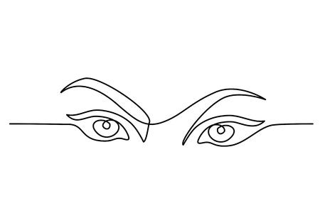 Dessin continu d'une ligne. Gros plan de portrait abstrait des yeux de jolie femme. Illustration vectorielle Vecteurs