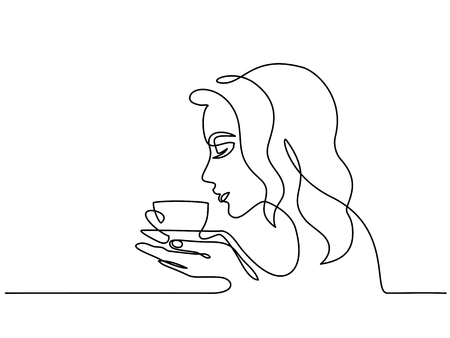 Continuous one line drawing. Abstract portrait closeup of pretty young woman smelling tea coffee. Vector illustration