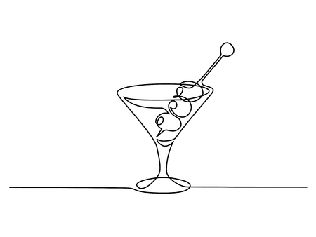 Continuous one line drawing. Martini with olives. Vector illustration
