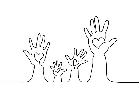 Continuous one line drawing. Abstract family hands holding hearts. Vector illustration 免版税图像 - 112648206