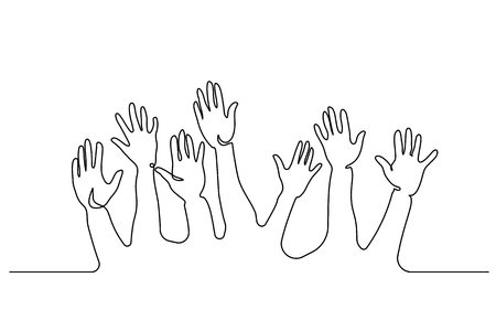Continuous one line drawing. Abstract Hands Up. Vector illustration Banco de Imagens