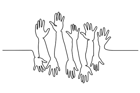 Continuous one line drawing. Abstract Hands Up. Vector illustration Stock Photo