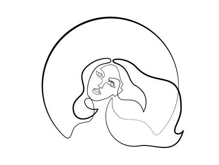 Kontinuierlich eine unterschiedlich breite Strichzeichnung. Abstraktes Porträt der hübschen jungen Frau mit dem schönen Haar in der Runde. Vektor-Illustration