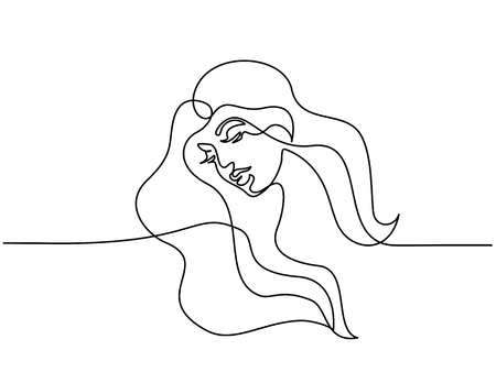 Continuous one line drawing. Abstract portrait of pretty young woman with beautiful hair. Vector illustration Фото со стока - 112648387